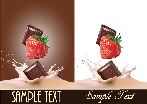 vivid chocolate with strawberry vector
