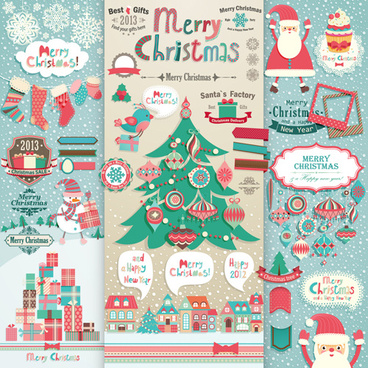 vivid christmas decor elements vector graphics