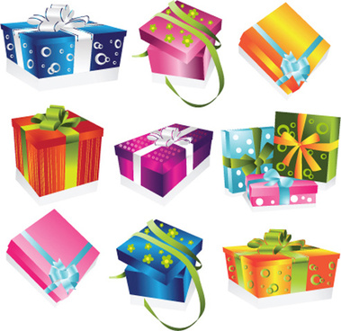 vivid colored gifts box vector graphics