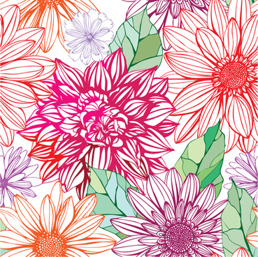 vivid flower patterns design elements vector
