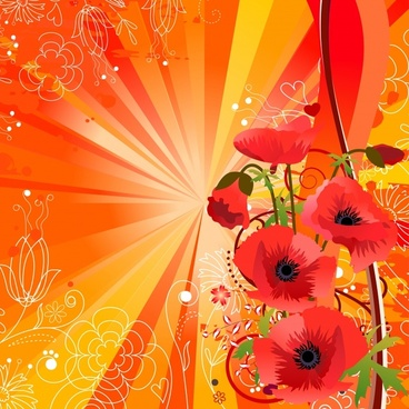 flowers background red design rays ornament