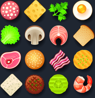 vivid food icon design vector