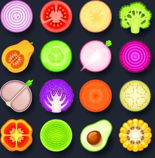 vivid food icon design vector
