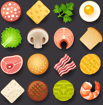 vivid food icons vector