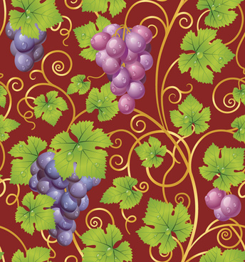 vivid grapes elements vector background art