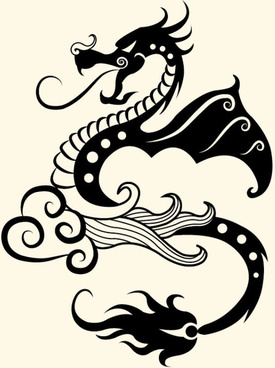 vivid hand drawn dragon decoration pattern vector