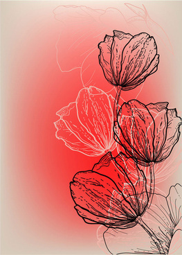 vivid hand drawn tulip background vector