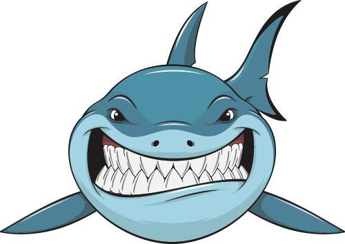 vivid shark design vectors set