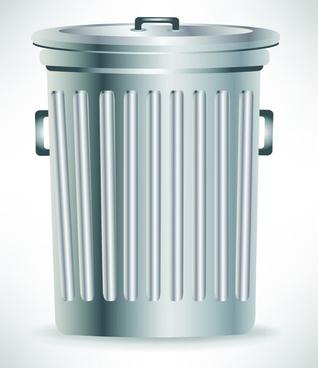 vivid trashcan design elements vector set