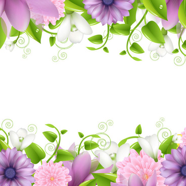 vivid with flowers borders vector
