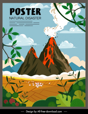 volcano eruption disaster poster colorful dynamic sketch