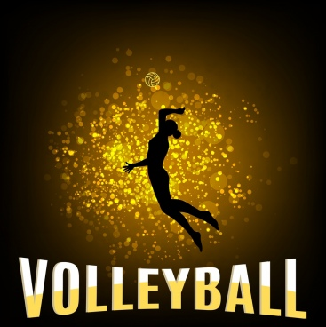 volleyball background female player icon glittering silhouette decor