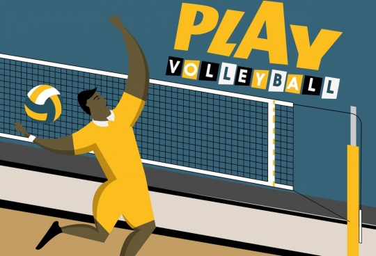 volleyball banner male player icon cartoon character