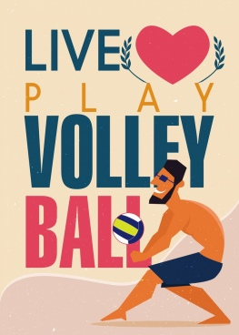 volleyball banner playing man icon texts decoration