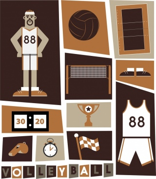 volleyball design elements white brown decor various symbols