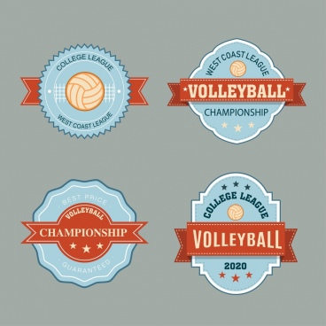 volleyball labels collection classical ribbon decor