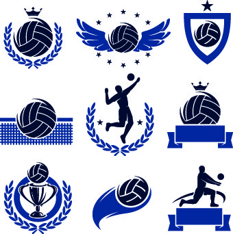 volleyball logos illustration design vector