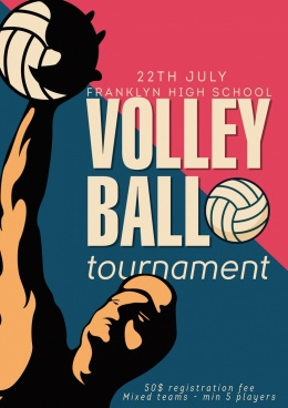 volleyball tournament advertisement player icon texts decor