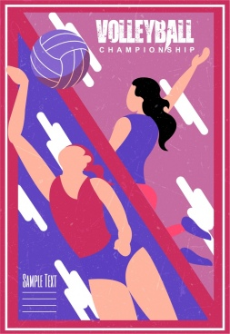 volleyball tournament banner female players icons classical design