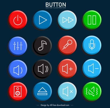 volume buttons templates colorful flat circles sketch