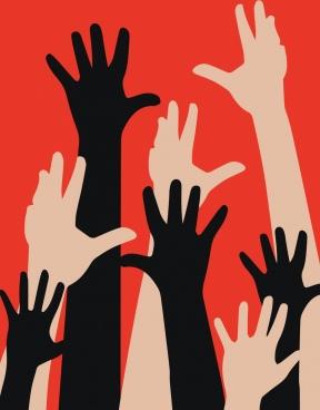 voting banner raising hands icons silhouette decor