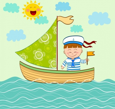 voyage drawing sailboat kid sea icons cartoon design