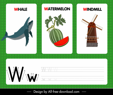 w alphabet teaching template whale watermelon windmill sketch