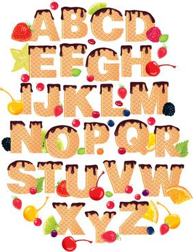 waffles and berries alphabet vector