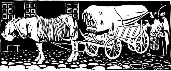 Wagon On Cobblestones clip art