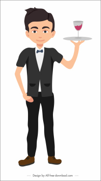 waiter icon young boy cartoon character sketch