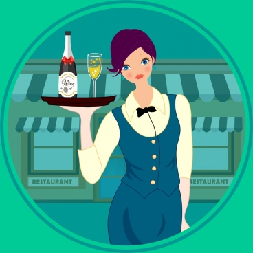 waitress icon elegant costume colored cartoon character