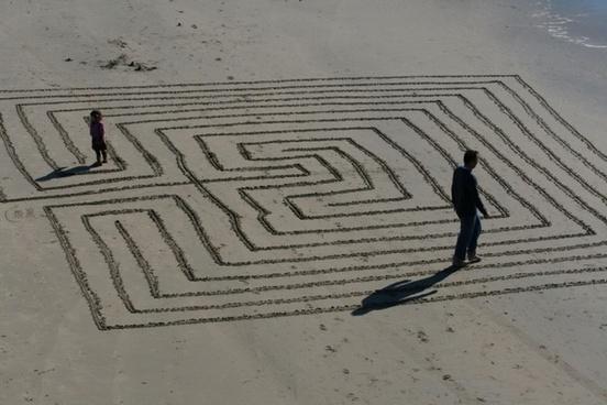 walking a beach maze