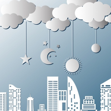 wall decor design city stars moons cloud icons