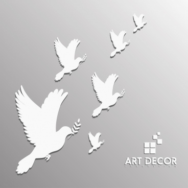 wall decor design pigeon white silhouettes design
