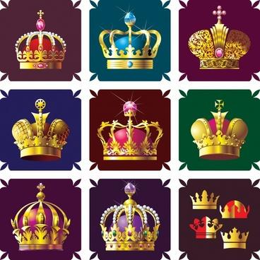 king crown icons templates elegant luxury decor