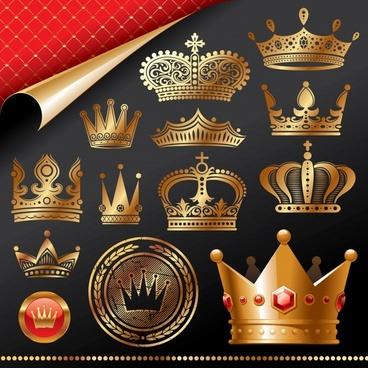 crown design elements elegant 3d flat sketch