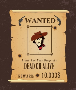 wanted banner classical design cowboy icon