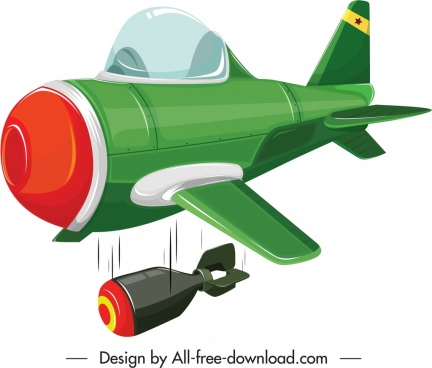 war plane icon colorful 3d bombing sketch