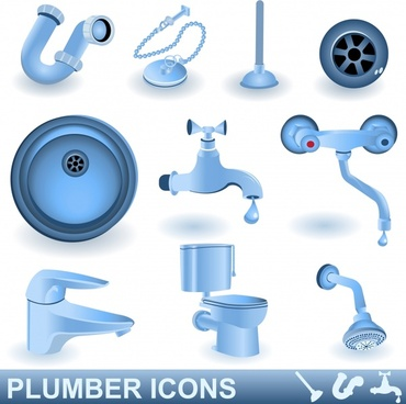 plumber icons tap toilet shower drainage design elements