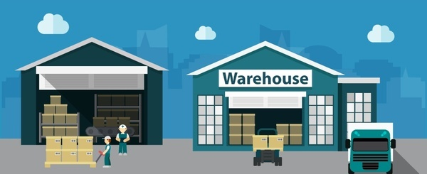 warehouse concepts design with delivery process illustration