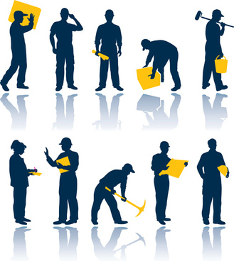 warehouse with worker elements vector graphic