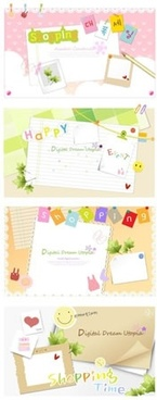 postcard background templates colorful cute decor