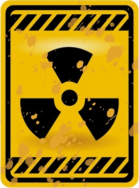 radiactive warning board template flat black yellow grunge