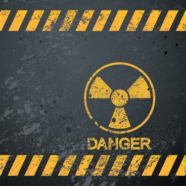 radiation warning banner flat retro dirty grunge design