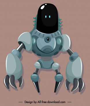 warrior robot icon modern design frightening appearance