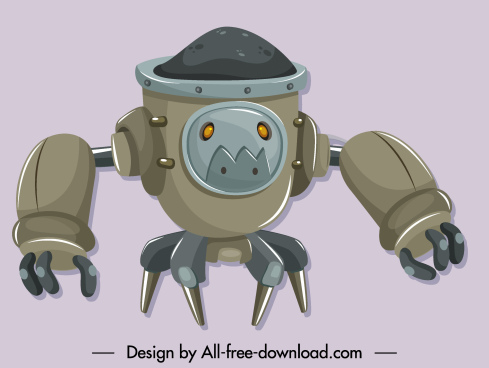 warrior robot icon modern grey design cartoon character