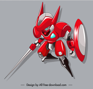 warrior robot icon sword shield equipped 3d sketch