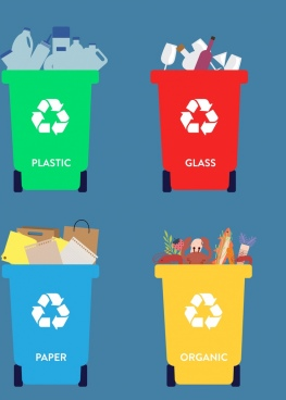 waste classification icons collection multicolored design dustbin icons