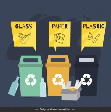 waste classification instruction banner dustbin rubbish sketch