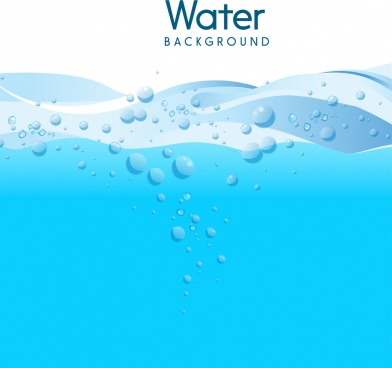water background blue bubbles curves ornament